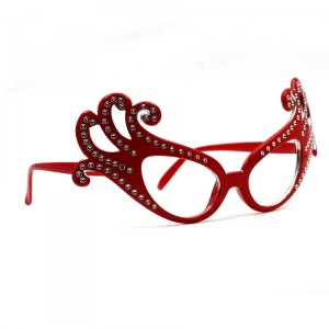 Lunettes Fun avec Strass - Rouge