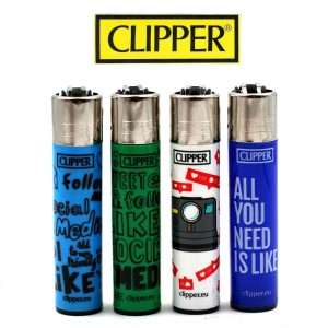 Lot de 4 briquets Clipper - Social Media