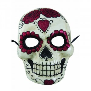 Masque adulte day of the dead - Blanc et rouge