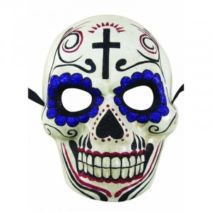 Masque adulte day of the dead - Blanc et violet