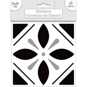 Sticker Carreaux de Ciment - Noir Motif 1