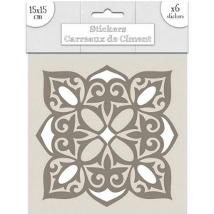 Lot de 6 Stickers Carreaux de Ciment – Greige Motif 2