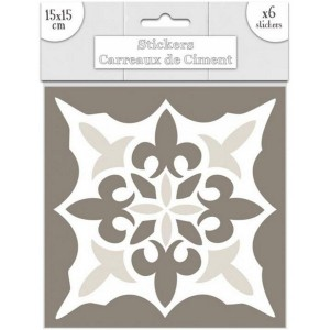 Lot de 6 Stickers Carreaux de Ciment – Greige Motif 1