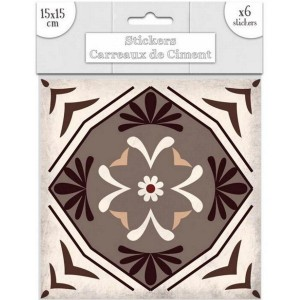 Lot de 6 Stickers Carreaux de Ciment – Brun Motif 6