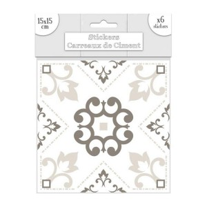 Lot de 6 Stickers Carreaux de Ciment – Greige Motif 3
