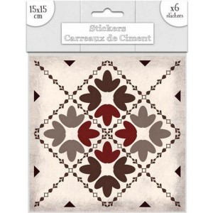 Lot de 6 Stickers Carreaux de Ciment – Brun Motif 4