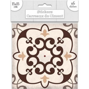 Lot de 6 Stickers Carreaux de Ciment – Brun Motif 5