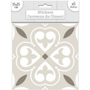 Lot de 6 Stickers Carreaux de Ciment – Greige Motif 4