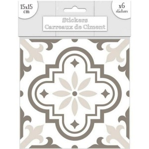 Lot de 6 Stickers Carreaux de Ciment – Greige Motif 6