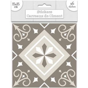 Lot de 6 Stickers Carreaux de Ciment – Greige Motif 5