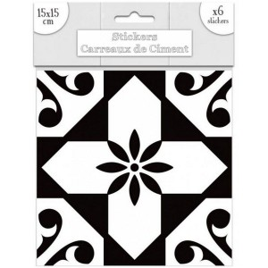 Lot de 6 Stickers Carreaux de Ciment - Noir Motif 6