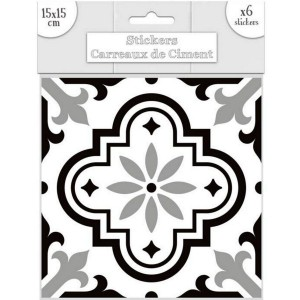 Lot de 6 Stickers Carreaux de Ciment - Noir Motif 3