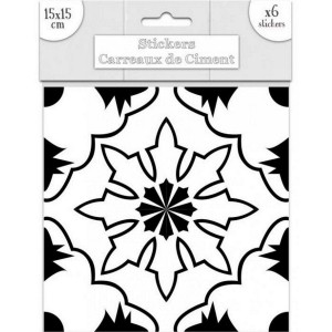 Lot de 6 Stickers Carreaux de Ciment - Noir Motif 5