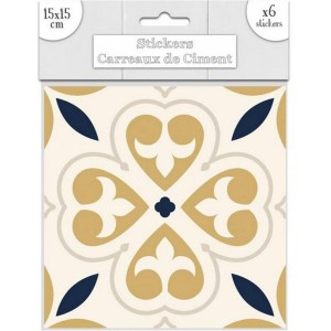 Lot de 6 Stickers Carreaux de Ciment – Doré Motif 3