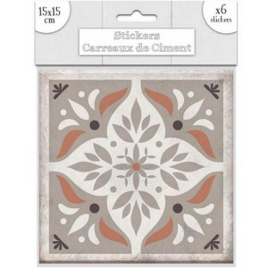 Lot de 6 Stickers Carreaux de Ciment – Taupe Motif 3