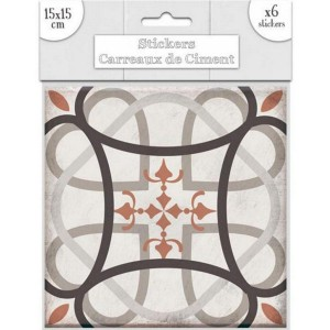 Lot de 6 Stickers Carreaux de Ciment – Taupe Motif 2
