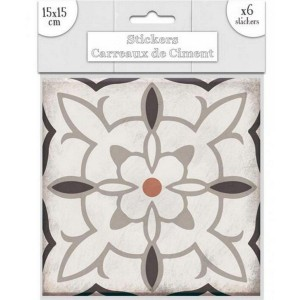 Lot de 6 Stickers Carreaux de Ciment – Taupe Motif 1