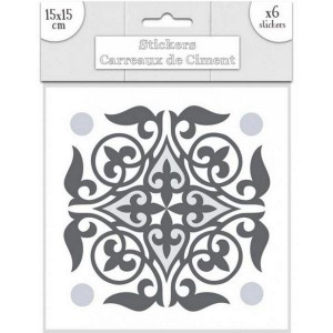 Lot de 6 Stickers Carreaux de Ciment – Gris Motif 6