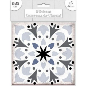 Lot de 6 Stickers Carreaux de Ciment – Gris Motif 5
