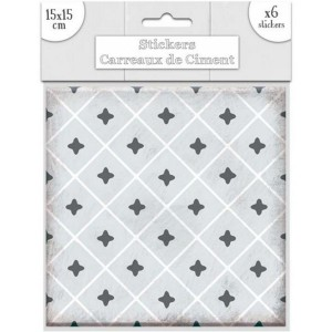 Lot de 6 Stickers Carreaux de Ciment – Gris Motif 4