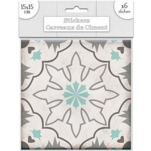 Lot de 6 Stickers Carreaux de Ciment – Vert Motif 2