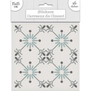 Lot de 6 Stickers Carreaux de Ciment – Vert Motif 1