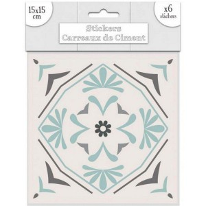Lot de 6 Stickers Carreaux de Ciment – Vert Motif 3