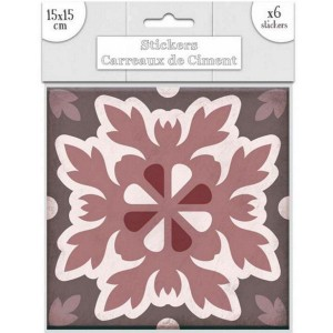 Lot de 6 Stickers Carreaux de Ciment – Rose Motif 6