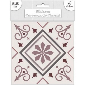 Lot de 6 Stickers Carreaux de Ciment – Rose Motif 5