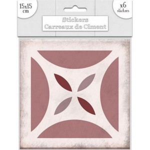 Lot de 6 Stickers Carreaux de Ciment – Rose Motif 4