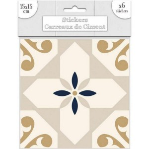 Lot de 6 Stickers Carreaux de Ciment – Doré Motif 1