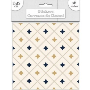 Lot de 6 Stickers Carreaux de Ciment – Doré Motif 2