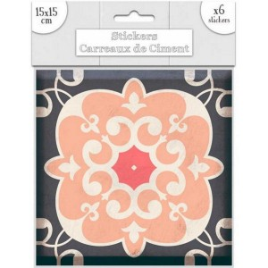 Lot de 6 Stickers Carreaux de Ciment – Rose Motif 3