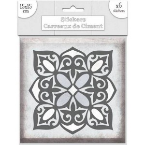 Lot de 6 Stickers Carreaux de Ciment – Gris Motif 2