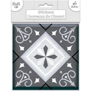 Lot de 6 Stickers Carreaux de Ciment – Gris Motif 1
