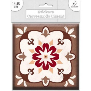 Lot de 6 Stickers Carreaux de Ciment – Brun Motif 3