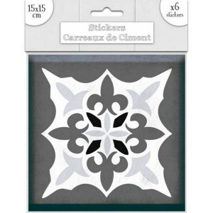 Lot de 6 Stickers Carreaux de Ciment – Gris Motif 3