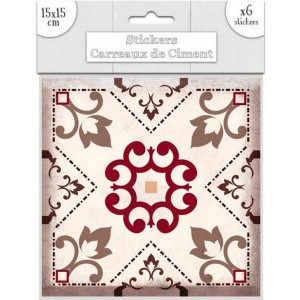 Lot de 6 Stickers Carreaux de Ciment – Brun Motif 2
