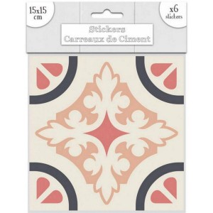 Lot de 6 Stickers Carreaux de Ciment – Rose Motif 2