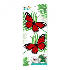 Déco Plantes – Lot de 2 Papillons Rouge CD3849