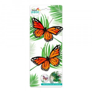 Déco Plantes – Lot de 2 Papillons Orange CD3853