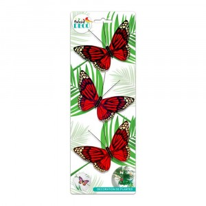 Déco Plantes – Lot de 3 Papillons Rouge CD3856