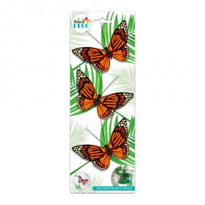 Déco Plantes – Lot de 3 Papillons Orange CD3859