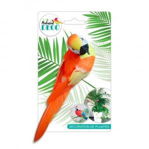 Déco Plantes – Grand Oiseau Orange CD3821