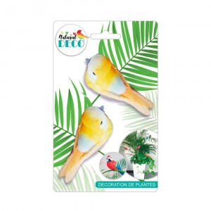 Déco Plantes – Lot de 2 Oiseaux Orange A CD3846