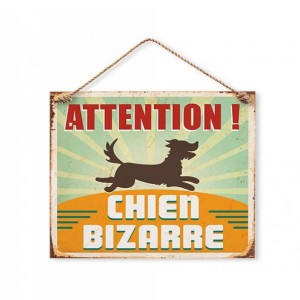 Plaque Décorative en Métal 20x20 cm – Attention Chien Bizarre