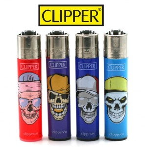 Lot de 4 Briquets Clipper – Skull Hats 2