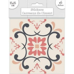 Lot de 6 Stickers Carreaux de Ciment – Rose