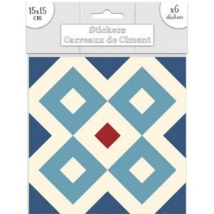 Lot de 6 Stickers Carreaux de Ciment – Bleu Motif A
