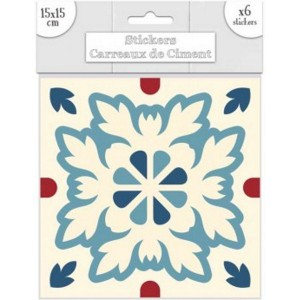 Lot de 6 Stickers Carreaux de Ciment – Bleu Motif B